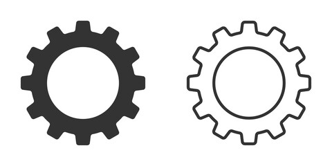 Fototapeta Set of gear vector icons isolated on white background. Symbol of setting in flat design. Cogwheel tool or button for web application or UI. Technical concept. Mechanism repair. obraz