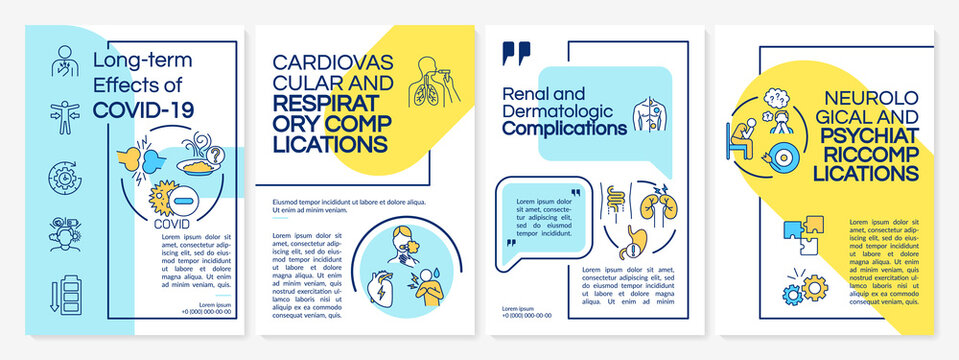 Long term effects of COVID 19 brochure template. Dermatologic issues. Flyer, booklet, leaflet print, cover design with linear icons. Vector layouts for magazines, annual reports, advertising posters