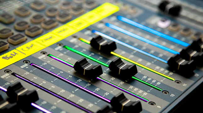 Sliders and buttons on Audio Mixing Desk at live event.