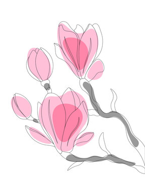 Spring postcard with a magnolia tree in bloom. Vector illustration in a hand-drawn style.