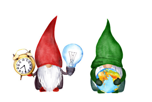 Earth day, hour concept with cute gnomes with clock, globe and light bulb. Watercolor illustration