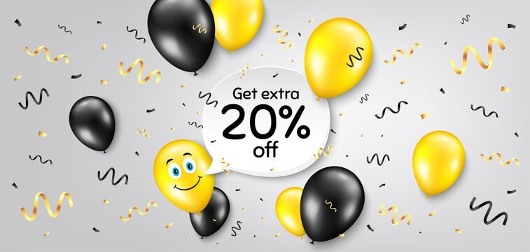 Get Extra 20 percent off Sale. Balloon confetti vector background. Discount offer price sign. Special offer symbol. Save 20 percentages. Smile balloon background. Extra discount message. Vector