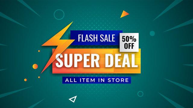 Flash sale discount banner template promotion. Super deal sale 50% off background. Trendy pop background design.