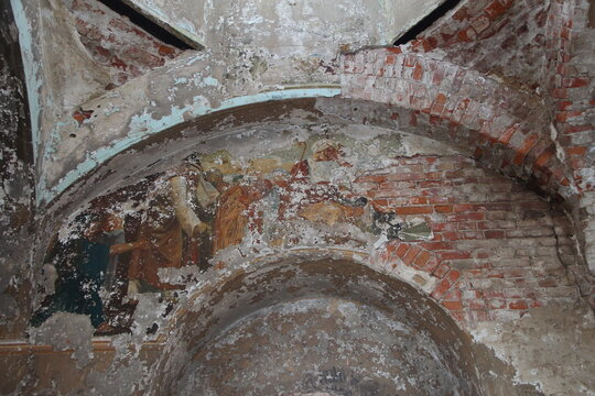 Old fresco on the wall in abandoned church