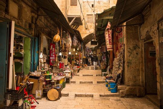 Suq Arabic market in muslim Quarter, Old City, Jerusalem, Israel., Middle East