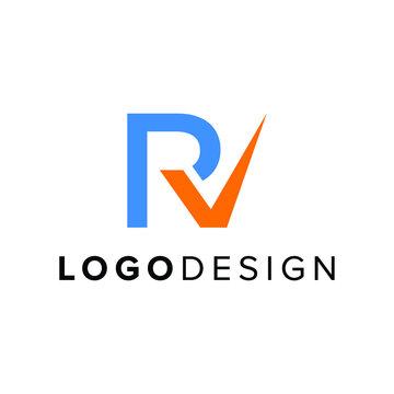 Modern letter RV with checklist logo design