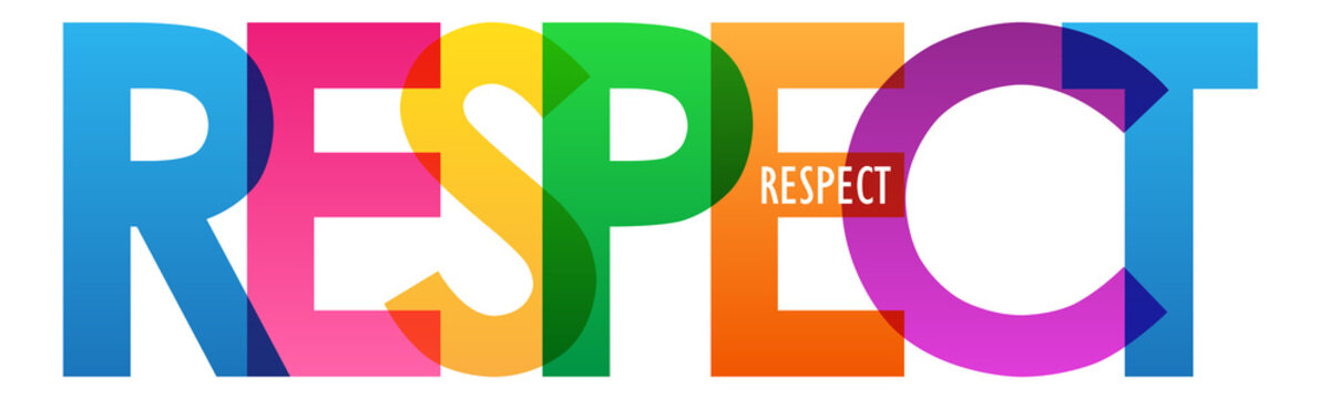 RESPECT colorful vector typography banner isolated on white background