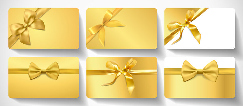 Gift card design collection. Blank premium template with gold ribbon, bow on luxury goldenbackground. Holiday vector set for gift certificate, voucher, coupon