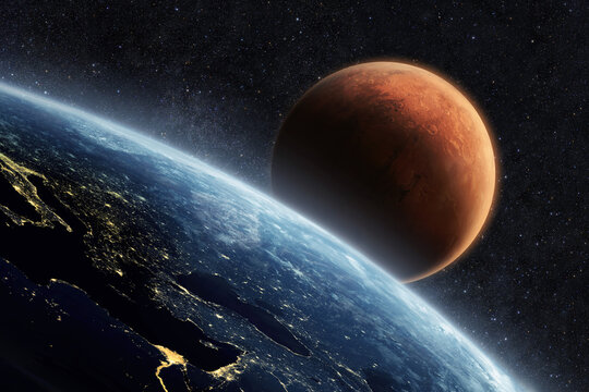 Blue planet earth with lights of night cities, view from space. Red Planet Mars in the starry sky. Two planets in outer space. Travel from Earth to Mars, concept