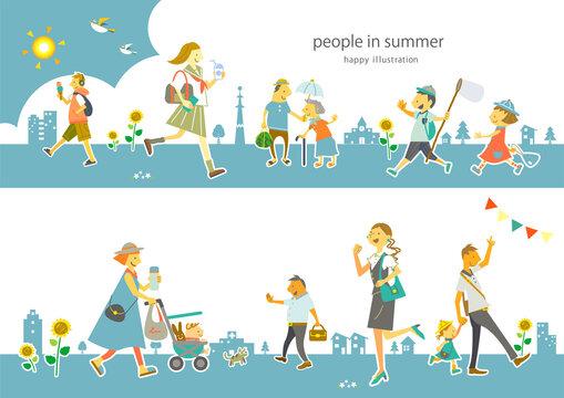 いろいろな人たちが笑顔で暮らす夏の街 ベクターでは人物はそれぞれ動かせます