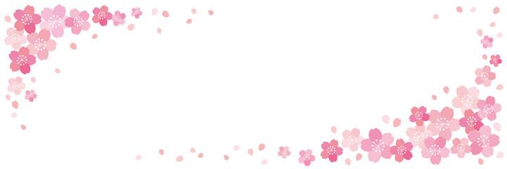 和風 桜 横長 バナー フレーム 背景 ベクター 02
