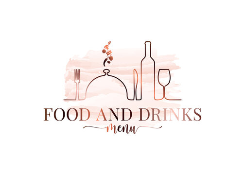 Food and drink watercolor logo on white background