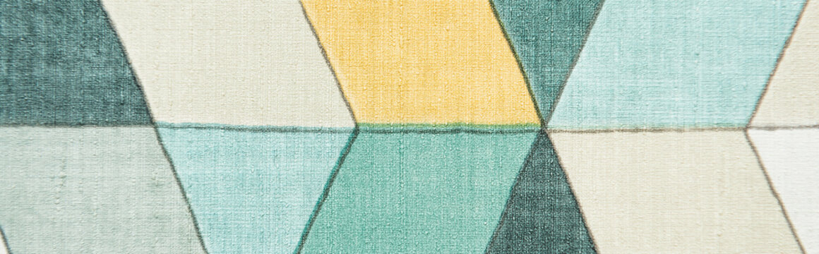 background with blue, grey and yellow shapes pattern, top view, banner