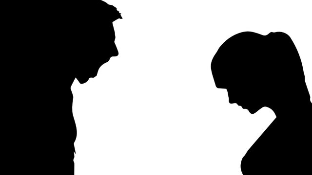 silhouette of a Man yelling at his woman