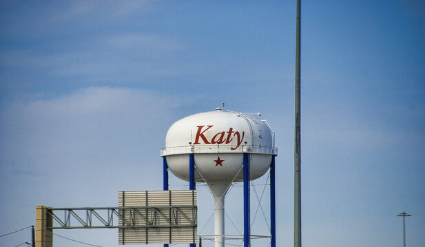 Katy welcome sign on a tower, Texas