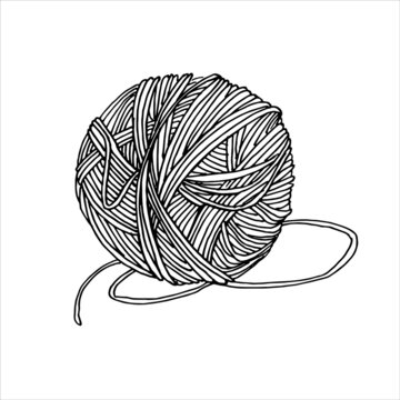 vector drawing in the style of doodle. a ball of yarn for knitting. a ball of woolen thread is a symbol of needlework, hobby, knitting and crocheting. the logo