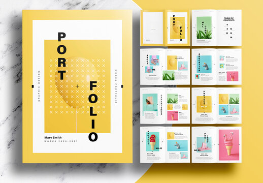 Portfolio Layout with Yellow Accents