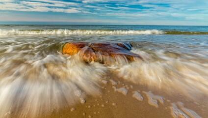 Fototapeta Morze kamienie fala brzeg obraz