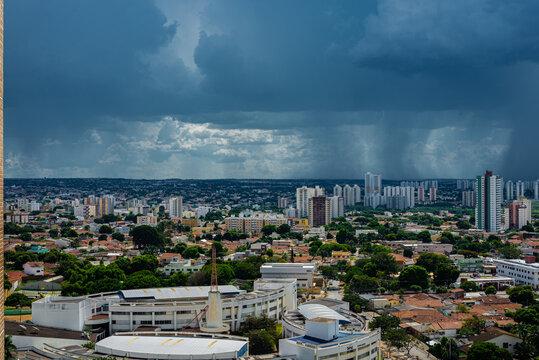 Goiânia Goias Brazil on rainy day aerial view