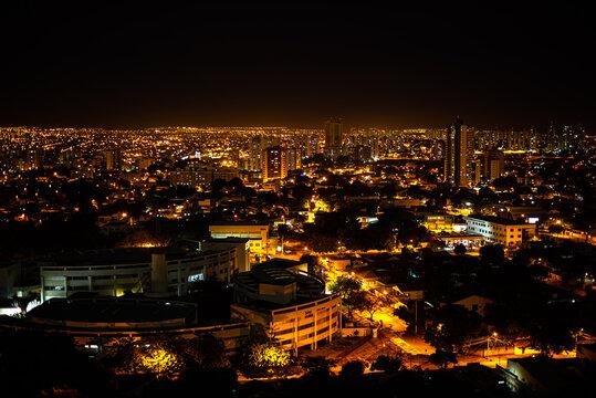 Goiânia Goias Brazil at night with lights on aerial view