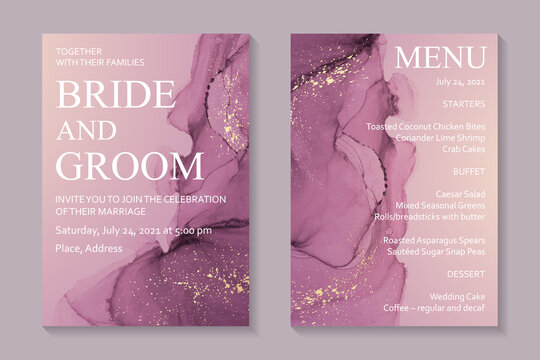 Modern abstract luxury wedding invitation design or card templates for birthday greeting or certificate or cover with pink watercolor waves or fluid art in alcohol ink style with golden glitter.
