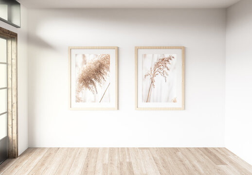 Two Frames in a Room with Large Windows