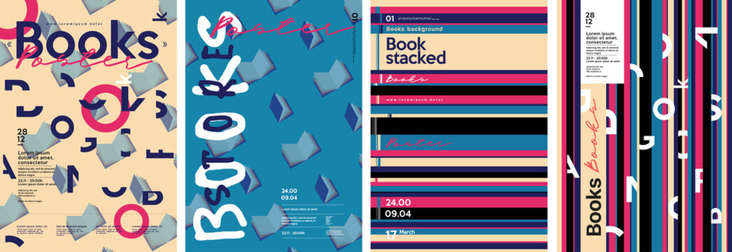 Books. Book-themed posters. Set of vector illustrations. Stylized stack of books. Background on the theme of learning or education. Postcard, poster or cover.