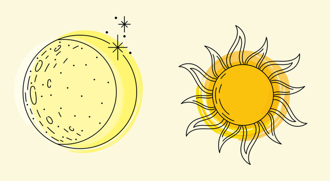 Colorful vector lineart illustration moon and sun with spots of paint