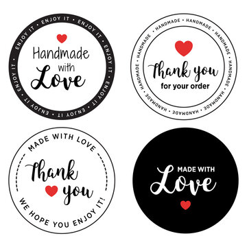 label made with love - handmade product