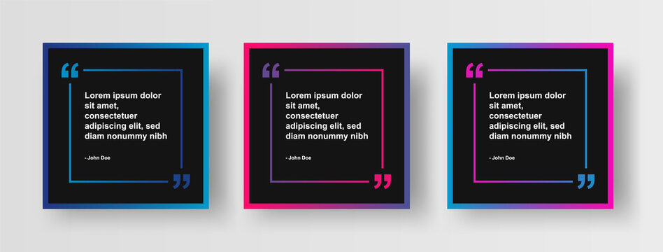 Set of Social Media Post Design Template for Quotes. Modern Social Post or Square Banner with Creative Abstract Gradient Background and Quote Border