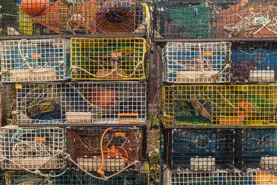 USA, Maine, Mt. Desert Island, Bernard. Lobster traps.