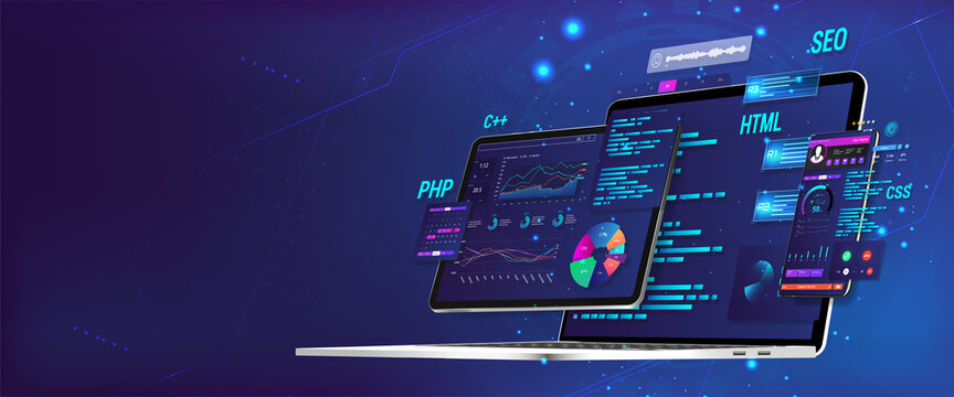 Banner Software UI and development for different devices. Business App dashboard with graph, charts, analytics data, testing platform, coding process. Software development and programming concept.