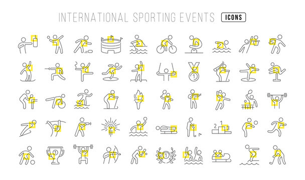 Set of linear icons of International Sporting Events