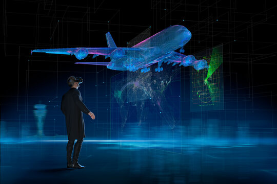 Businessman with VR headset watching holographic airplane takeoff