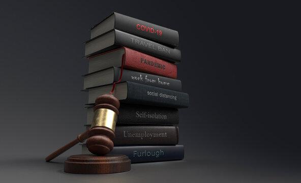 Covid legislation textbooks next to gavel