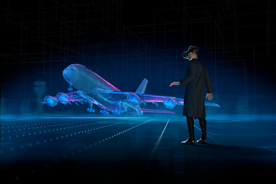 Man with VR headset watching holographic airplane takeoff
