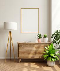 Mockup frame on cabinet in living room interior,Scandinavian style.