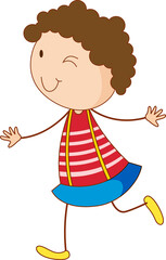 A doodle girl cartoon character isolated