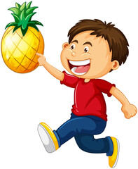 A boy holding pineapple cartoon character isolated on white background