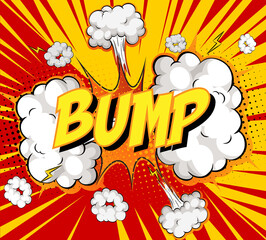 Word Bump on comic cloud explosion background