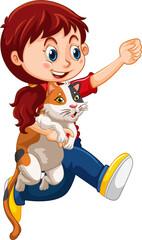 Happy girl cartoon character hugging a cute cat