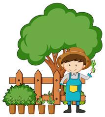 Little kids cartoon character in the garden