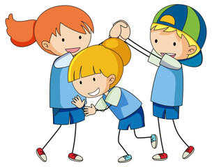 Doodle of kids cartoon character isolated