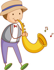 A doodle kid playing saxophone cartoon character isolated