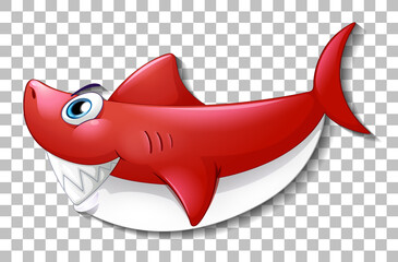 Smiling cute shark cartoon character isolated on transparent background