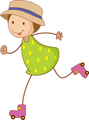 A doodle kid playing roller skates cartoon character isolated
