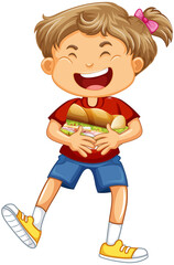 Happy girl cartoon character hugging food sandwich