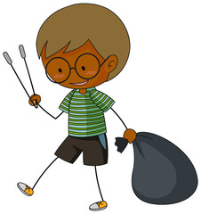 A doodle boy cleaning trash cartoon character isolated