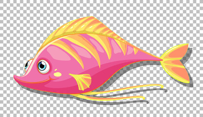 A fish cartoon character isolated on transparent background