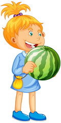 A girl holding watermelon fruit cartoon character isolated on white background